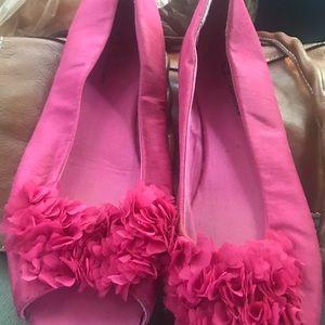 Pink peep toe flats